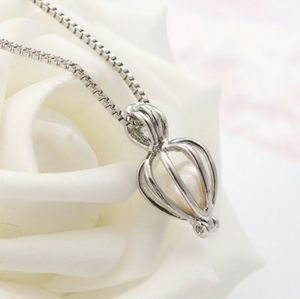 Real White Pearl Cage Pendant Necklace Silver